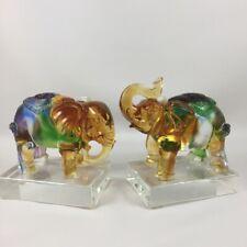 Amore Jewell Elephant Dual home decoration Liuli Crystal Glass Elephant pair
