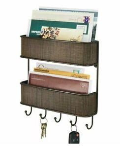 InterDesign Wall Mount Bronze Basket Mail & Key Rack