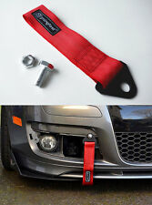 Universal Racing Sport Tow Hook Strap Band High Strength Heavy Duty Loop Red -