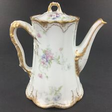 Theodore Haviland Limoges Pink Blue Flowers Double Gold Coffee Pot Chipped Spout
