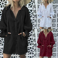 Ladies Women Long Cotton Tunic Blouse Top Puff Sleeve Plus Size Mini Shirt Dress
