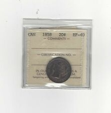 **1858**, ICCS Graded Canadian, 20 Cent, **EF-40**