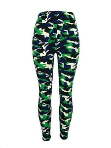 CAMO! One Size Black Blues Green White Camouflage OS Leggings Pants Buttery Soft