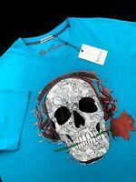 Robert Graham Skull Rose Jamz T Shirt Crewneck Tee Teal Mens Sizes L 2XL 3XL