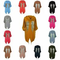 Womens Ladies Sequin Angel Wings Cardigan Back Over-sized Hoodie Jacket Coat Top