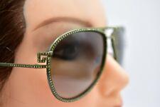 Authentic Versace 2171-B Sunglasses Dark Green Gradient Aviator Rhinestone
