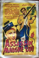 Affiche entoilée ADIEU LEONARD Assassin malgré lui CHARLES TRENET 80x120cm