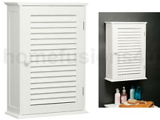 WHITE WOOD SINGLE SHUTTER DOOR BATHROOM CABINET WALL MOUNTED TOILETRIES STORAGE