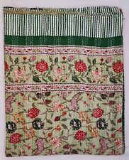 Hand Block Print Indian Kantha Quilt Floral Gudri Cotton Coverlet Bedding V
