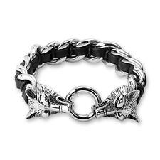 Coolbodyart Armband Edelstahl Bikerarmband Gliederarmband Mystic mit Wolf Wol...