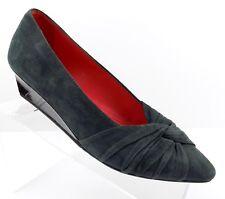 Pas De Rouge Women's Wedge Heel Shoe Greyish Green Suede Size 7.5 US EU38