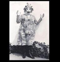 Scary Vintage Creepy Clown PHOTO Freak Weird Halloween Costume Circus Happy