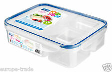 Kitchen Airtight 3 Section Plastic Food Storage Container Ideal Lunch Box Clear