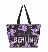 Robin Ruth City Shopper Borsa Berlino FLOWERS NUOVA nera lilla Città Borsa Rose