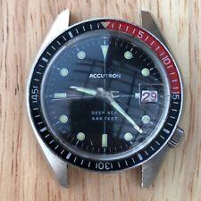 Vintage Accutron Deep Sea Bulova 666 Devil Diver 218 Bakelite Stainless Running