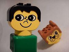 2 Vintage Lego Duplo Big Head Bricks - Boy ~ Dog