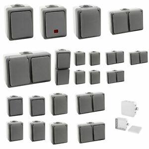 Secure Feuchtraum Steckdosen + Schalter Aufputz  Taster IP44 16A AP & Spar Set´s
