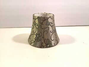 """Small Bell Lamp Shade Clip On Gold Paisley Fabric w/Bling 4""""x2-3/4""""x5"""""""