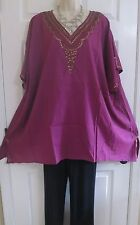 NEW Dark Raspberry Loose Lightweight Boho Tunic Top by Catherines Plus 4X Beaded
