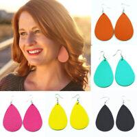 Fashion Water Drop Genuine Leather Statement Drop Earrings for Women Jewelry