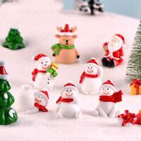 Christmas Snowman Santa Claus Trees gift Figurines Fairy Garden Miniatures L wr