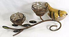 Birds Nest Double votive Candle Holder with Porcelain Bird home decor