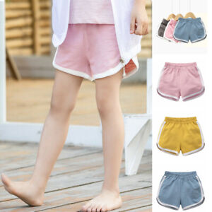 100% Cotton Kids Breathable Girls Shorts School Summer Holiday Sports Hot Pants