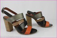 Sandales à talons  MONOPRIX Cuir Noir Orange Bronze T 36 TBE