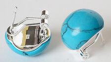 &925 Sterling Silver Stud Earring Elegant Women's Blue Turquoise beads