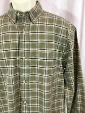 Austin Medium Dress Shirt Green M Plaid Button Down Front Oxford Western Top VTG