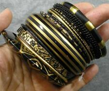 BOHO Resin Glass Aluminum Brass Wood Black Gold Glitter 13 Bangle Bracelet Set