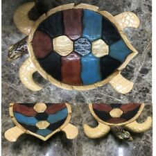 Hand-Carved Multi-colored Wood Turtle