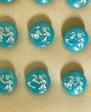 """Vintage Glass Buttons - 9 Blue Hand Painted """"Dancing Couple"""" Novelty Buttons"""