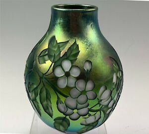Orient & Flume Green Iridescent Vase w/ Reverse Cameo Deeply cut Dogwood Flowers