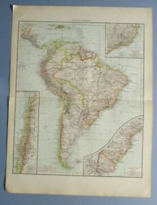 """1895 The Times Full Colour Map South America 16"""" x 22"""""""