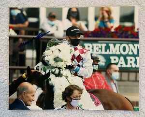 MANUEL FRANCO SIGNED 8x10 PHOTO HORSE RACING TIZ THE LAW 2020 BLEMONT STAKES