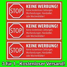 3x ROTE Briefkasten Aufkleber STOPP - KEINE WERBUNG ++++