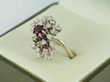 Diamond & Ruby Cluster Ring 18ct White Gold Ladies Size N 1/2 750 7.1g Ey36