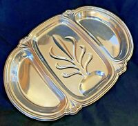 "International Silver Divided Meat Tray Chadwick Oval Rectangle 14"" x 20"" Heavy"