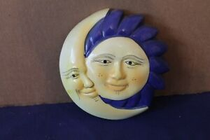 Vintage Sun & Moon ceramic wall plaque 14.5cms diameter