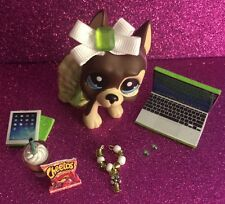 LPS Green Outfit Tablet Laptop Cheetos Frappuchino Bow Collar -Accessories Lot