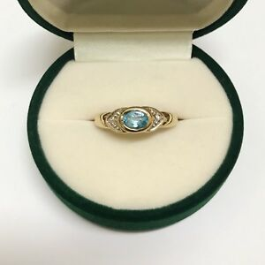 Blue Topaz & Diamond Cocktail Ring in 9K Yellow Gold