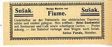Anton Funda Susak bei Fiume Hotel Continental  Historische Reklame von 1909