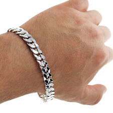 10mm Mens Real Solid 925 Sterling Silver Heavy Cuban Chain Link Bracelet 9 inch