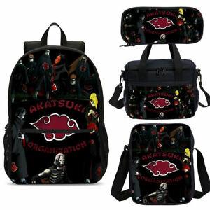 Naruto0 AKATSUKI School Backpack 4PCS Shoulder Bag Lunch Bag Crossbody Pen Bag