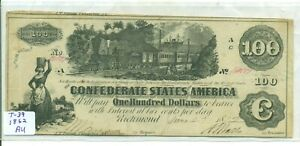 AU AUTHENTIC 1862 CONFEDERATE $100 NOTE - CIVIL WAR - CSA-T-39 - RAILROAD