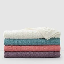 Sky Bobble Knitted Throw Blanket Ivory $100 Y376
