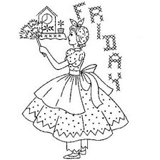 Hand Embroidery Transfer repo 731 Days of the Week Girls in Petticoats & Dress