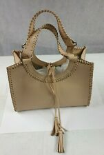 NEXT Women's Beige Leather Tote Medium Tassel Casual Handbag VGC
