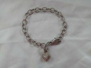 Judith Ripka Sterling Silver Country Link Bracelet w/ Heart Charm